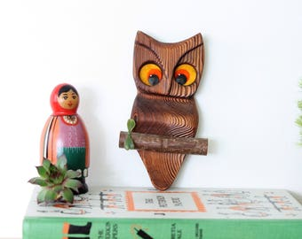 Quirky Vintage Wood Owl on a Branch Wall Decor, Handmade Wooden Owl Wall Hanging Owl Decor,  Witco Style Wood Owl Wall Decor