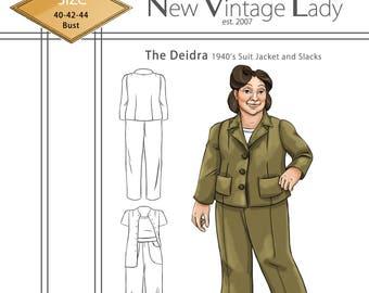 The Deidra 1940s WWII slacks and jacket set  NVL plus size multi size repro vintage sewing patterns