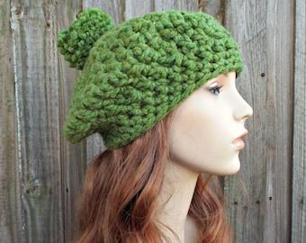 Grass Green Crochet Hat Womens Hat Slouchy Hat - Pom Pom Beret - Green Hat Green Beret Green Beanie