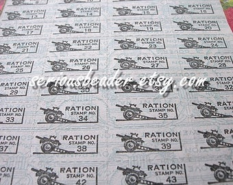 Vintage Ration Coupons Full Sheet WWII Anti Aircraft Gun Weapon 1 sheet 48 individual coupons