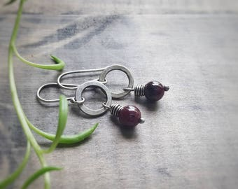 Garnet Earrings - Small Silver Earrings - January Birthstone Jewelry - Tiny Circle Earrings - Hammered Silver Earrings - Rustic Earrings
