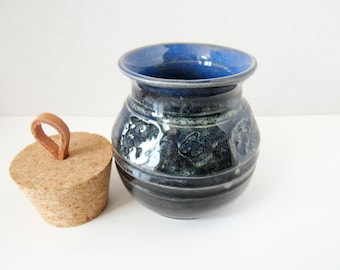 Apothecary Pottery Jar, Bottle,  Wheel thrown Home Decor Vase, Bottle or Scent Diffuser, Blue and Black