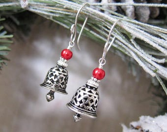 Jingle Bells - Silver and Red Bell Earrings