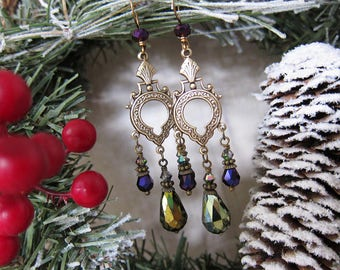 Midnight Moonshine - Green and Purple Iridescent Chandelier Earrings