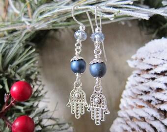 Fatima - Hamsa Earrings in Blue