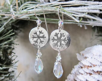 Tokens of the North Wind - Snowflake and Crystal Dangle Earrings