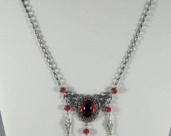 Antiqued Silver and Red Necklace with Earrings