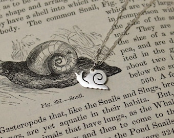 Snail Hand Cut Small Sterling Silver Necklace