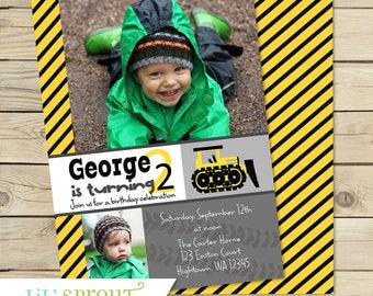 Bulldozer Printable Birthday Invitation - Yellow Black Construction Invitation - Boys Photo Invite - Print Your Own PDF JPEG