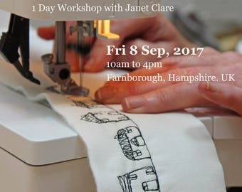 1 Day Workshop - Fri, 8 Sep 2017.   Draw with your sewing machine.   Learn to sketch with free-motion stitching and transform your appliqué