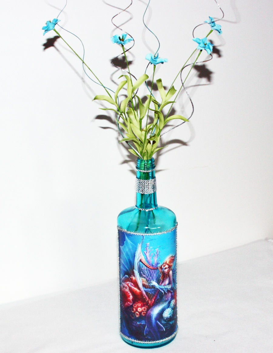 Teal mermaid decorated liquor bottle floral large custom liquor teal mermaid decorated liquor bottle floral large custom liquor bottle gift transparent bottle house warming birthday gift reviewsmspy