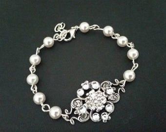 Bridal Bracelet Wedding Jewelry Swarovski Pearl and Crystal Bracelet Wedding Bracelet Statement Julienne Flower Bracelet Delicate Elegant