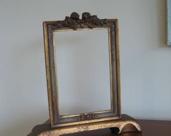 Vintage picture frame antique gold gilt wood standing on stand shabby dresser