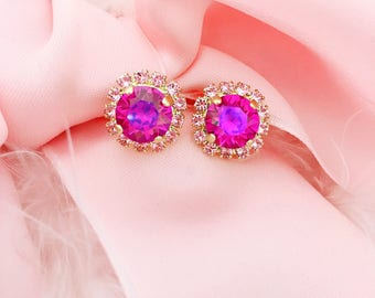 Fuchsia Pink 8mm with Rose Pink Swarovski Earrings In Gold Matte Setting *Lots of SPARKLE* FREE US shipping