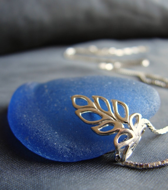 Lagoon sea glass necklace in cornflower blue