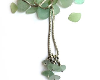 Sterling Silver Aqua Seaglass Beach Glass 24 Inch Rectangular Snake Chain Spritz of Charms