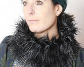 Black Faux Fur Cowl, Long haired black Neckwarmer with feather-like fake fur,  Tube scarf, Winter accessories, MALAM