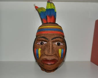 VINTAGE Carved Coconut Folk Art South America Venezuela Guaicaipuro home decor display