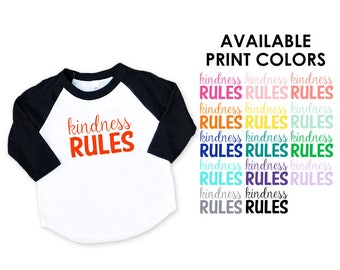 Kindness Rules Black Raglan Sleeve Baseball TShirt - Choose your print color - Infant Baby and Toddler Kids - Be Kind, Love, Hippie, Peace
