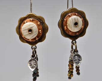 20 Paisa Coin Amulet Earrings sterling silver
