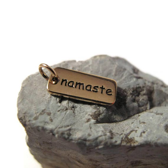 Gold Namaste Charm, Natural Bronze Namaste Pendant, Personalized Yoga Charm, Word Charm, Double Sided (CH 360)