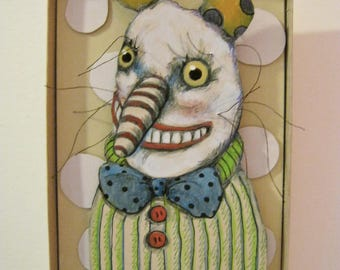 Crazy Happy , Shadowbox art, shadow box ,Diorama , sandy mastroni,Small art, Wall art collection,
