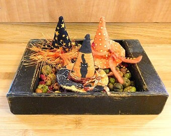 Halloween Witch Hats Ornaments Black and Orange Bowl Fillers Holiday Decorations
