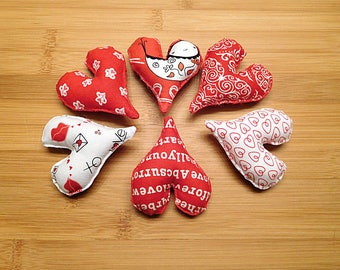 Red and White Valentine's Day Hearts Ornaments Bowl Fillers Holiday Decor