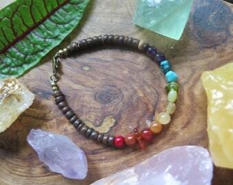 Crystal Rainbow Bracelet - Gemstone Wood -  Ombre Chakra - Funky Bohemian Gemstone Beaded - Arm Candy - Festival Fashion - Gypsy Soul
