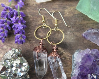 Gold Filled Hooks - Raw Clear Quartz Crystal Earrings with Hoops - Super Funky Bohemian Style - Spring Summer - Gypsy Healing Gems - Brass