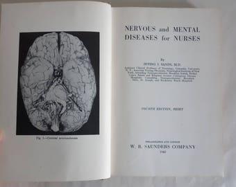 Insanity NERVOUS & MENTAL DISEASES For Nurses Antiquarian Rare Books Medical Psychology Nursing 1942 Toxic Psychoses Mental Hygiene