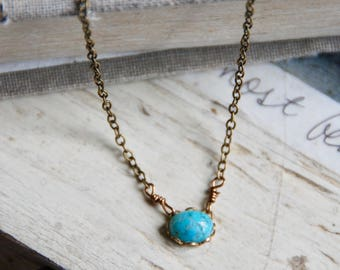 Simple turquoise necklace,short necklace,layering necklace,layered necklace ,choker necklace,blue necklace,boho necklace,bohemian necklace