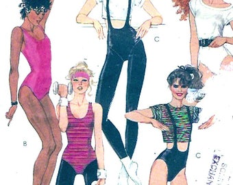 80s Workout leotards bodysuit tights t shirt vintage sewing pattern Brooke Shields Collection Retro pin up Yoga wear McCalls 9102 Sz 8 cut