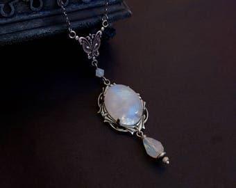 Victorian Moonstone Necklace Silver Art Nouveau Necklace Dainty Elegant Romantic Necklace Blue Gemstone Jewelry Rainbow Moonstone aranwen