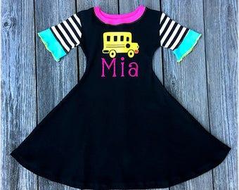 Back to School Girl Dress, Back To School Girl Outfit, Back To School Personalized Dress, Back To School Bus Dress, Back To School Outfit