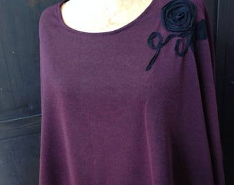 Black Rose Purple Short Poncho