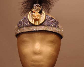 I'm with the Band, quirky festival headdress, headband, sequins, metallic threads