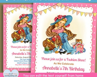 Fashion birthday invitation - glamour fashion show dress up theme birthday invite blonde girl- INSTANT DOWNLOAD #P-126 - with editable text