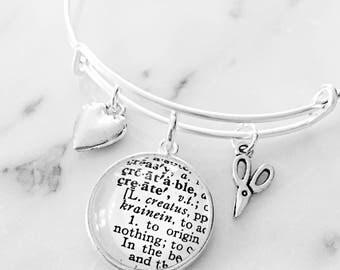 Maker Charm Bracelet - Personalized Definition Jewelry - Craft Blogger - Maker Gift - Gift for Maker - Gift for Crafter - Crafter Gift