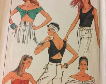 Uncut 80's Simplicity 8685  Misses' Tops and Turban Sewing Pattern Size 10-12 Bust 32-34 inches Complete Uncut