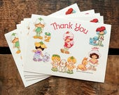 Strawberry Shortcake Postcards - Set of 5 - Thank You Cards, Thank You Stationery, Cute Note Cards, 1980s Cards, Vintage Unused Postcards
