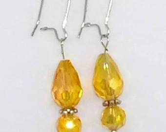 Amber Faceted Teardrop Earrings