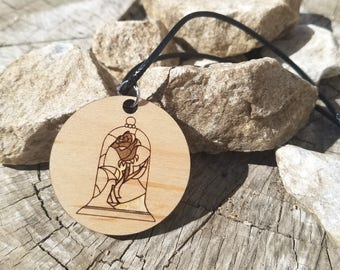 Tale As Old As Time Beauty and the Beast Inspired Rose Wood Pendant Necklace