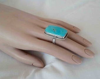 Vintage Seventies Large Rectangular Sky Blue Turquoise & Sterling Silver Ring / Southwestern Native American / Signed Size 7