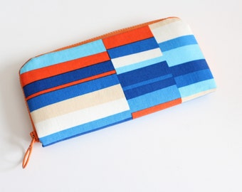 Womens zip around wallet / Checkbook Cell Phone Passport Credit Card Wallet / Accordian wallet / Orange Blue mod stripes
