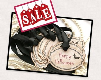 Halloween Tags HALF PRICE - Black and Red Treat Bag Labels - Vintage Style - Set of 8