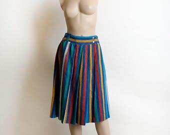 Vintage 1970s Skirt - Rainbow Striped Italian Knitwear Pleated Wrap Knee Length Skirt with Side Double Button - Terguy - 28 Inch Waist