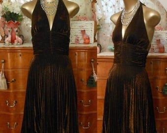 ON SALE Vintage 80s Dress, 1980s Metallic Bronze Lurex Accordion Pleats Halter Cocktail Dress by Cache, Marilyn Monroe, Size 4, Small