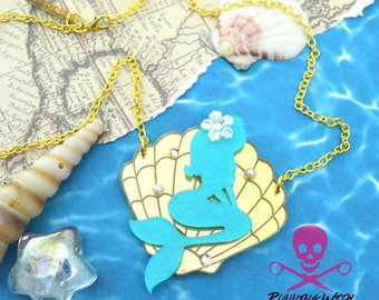 MERBABE - Laser Cut Acrylic - Seashell Necklace - Turquoise and Gold Mirror