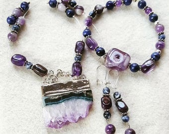 Genuine Amethyst and Sodalite Jewelry Set with Large Amethyst Geode Slab Pendant